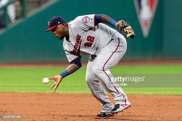 Third baseman Miguel Sano of the Minnesota Twins fields a ground ball hit by Yonder Alonso of the Cleveland Indians for an out to end the third...