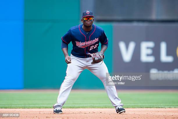 Third baseman Miguel Sano of the Minnesota Twins in his ready stance during the first inning against the Cleveland Indians at Progressive Field on...