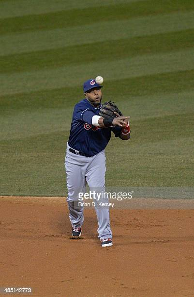 Third baseman Mike Aviles of the Cleveland Indians throws to first base during the second inning against the Chicago White Sox at US Cellular Field...