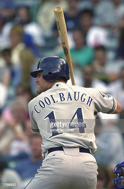 Third Baseman Mike Coolbaugh of the Milwaukee Brewers readies at the plate against the Chicago Cubs on August 28, 2001 at Wrigley Field in Chicago,...