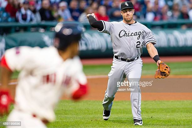 Third baseman Mike Olt of the Chicago White Sox throws out Francisco Lindor of the Cleveland Indians at first on a sacrifice bunt during the first...