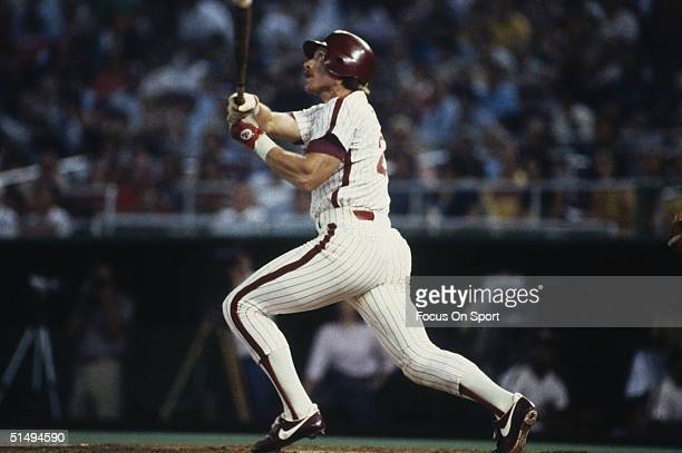 Third baseman Mike Schmidt of the Philadelphia Phillies bats in front of the hometown fans at Veterans Stadium during the 1980s in Philadelphia...