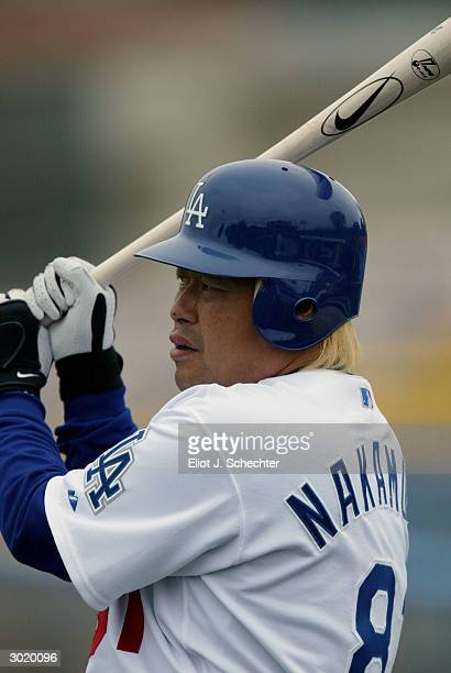 Third baseman Norihiro Nakamura of the Osaka Buffaloes works out with the Los Angeles Dodgers during Spring Training February 27 2004 at Holman...