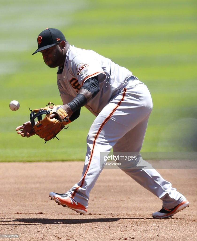 Third baseman Pablo Sandoval #48 of the San Francisco Giants chases the ball in the first inning during the game against the Atlanta Braves at SunTrust Park on May 6, 2018 in Atlanta, Georgia.