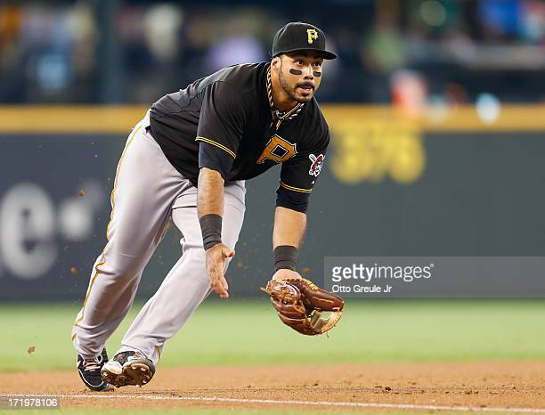 Third baseman Pedro Alvarez of the Pittsburgh Pirates fields a grounder against the Seattle Mariners at Safeco Field on June 26 2013 in Seattle...