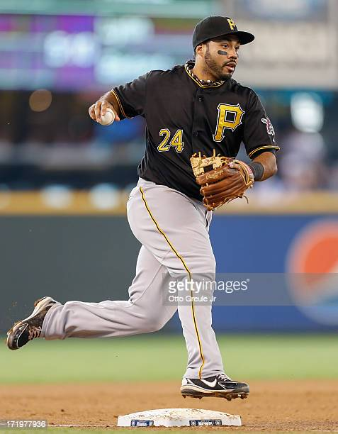 Third baseman Pedro Alvarez of the Pittsburgh Pirates throws to first base on a groundout against the Seattle Mariners at Safeco Field on June 26...