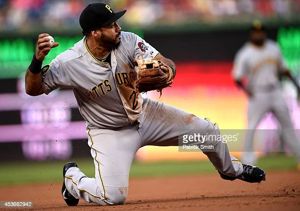 Third baseman Pedro Alvarez of the Pittsburgh Pirates tries to make a play on Denard Span of the Washington Nationals in the first inning at...