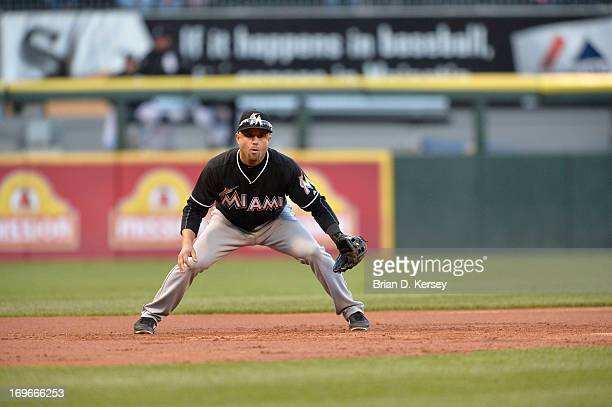 Third baseman Placido Polanco of the Miami Marlins gets ready for the pitch during the first inning against the Chicago White Sox on May 24 2013 at...
