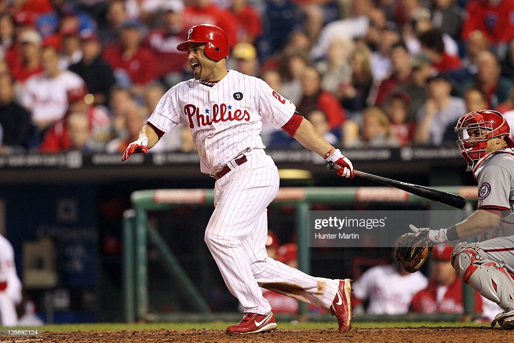 Third baseman Placido Polanco #27 of the Philadelphia Phillies bats during a game against the Washington Nationals at Citizens Bank Park on September 20, 2011 in Philadelphia, Pennsylvania. The Nationals won 3-0.