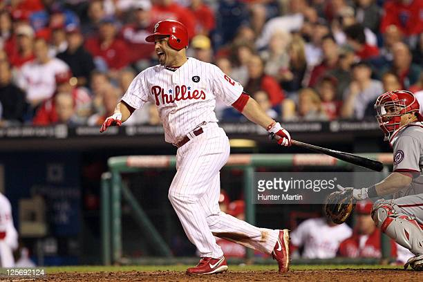 Third baseman Placido Polanco of the Philadelphia Phillies bats during a game against the Washington Nationals at Citizens Bank Park on September 20...
