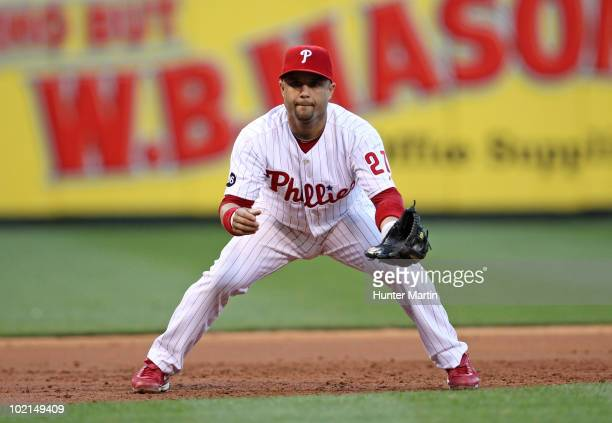 Third baseman Placido Polanco of the Philadelphia Phillies plays the field during a game against the San Diego Padres at Citizens Bank Park on June 7...