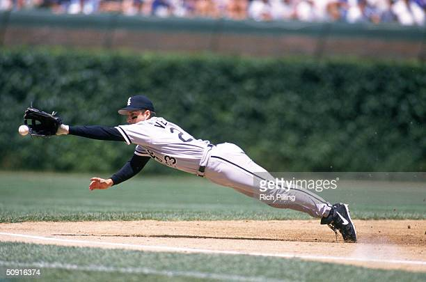 Third baseman Robin Ventura if the Chicago White Sox dives to make a catch during a game on June 7 1998