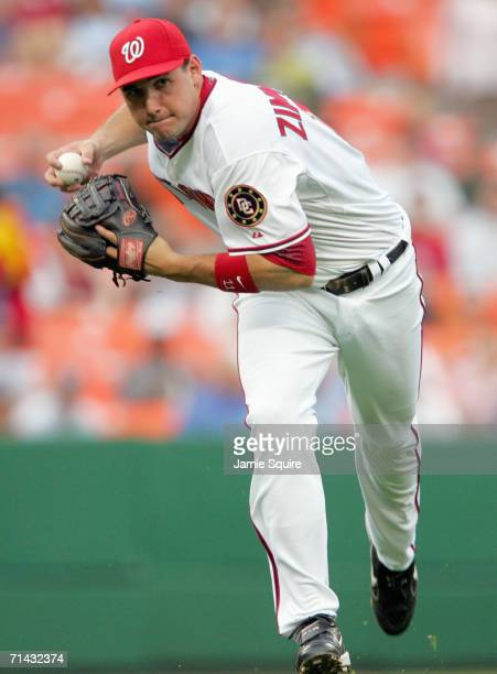 Third baseman Ryan Zimmerman of the Washington Nationals throws toward first during the game against the Philadelphia Phillies on June 8, 2006 at RFK...