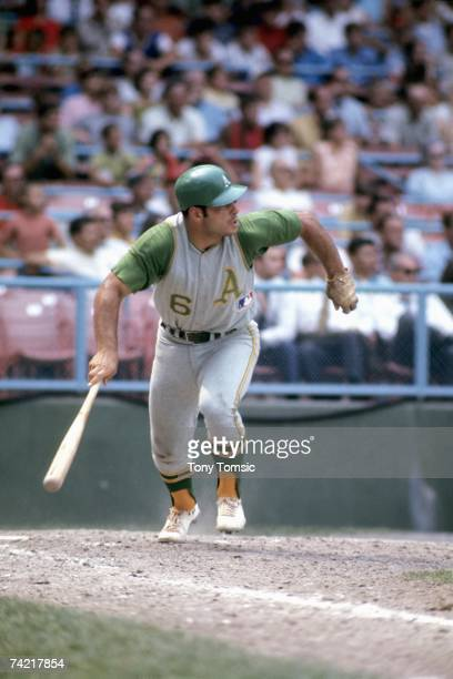 Third baseman Sal Bando of the Oakland A's watches the pitch he's just hit during a game on August 1969 against the Cleveland Indians at Municipal...