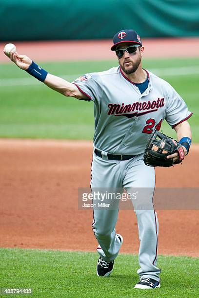 Third baseman Trevor Plouffe of the Minnesota Twins throws out Lonnie Chisenhall of the Cleveland Indians during the second inning at Progressive...