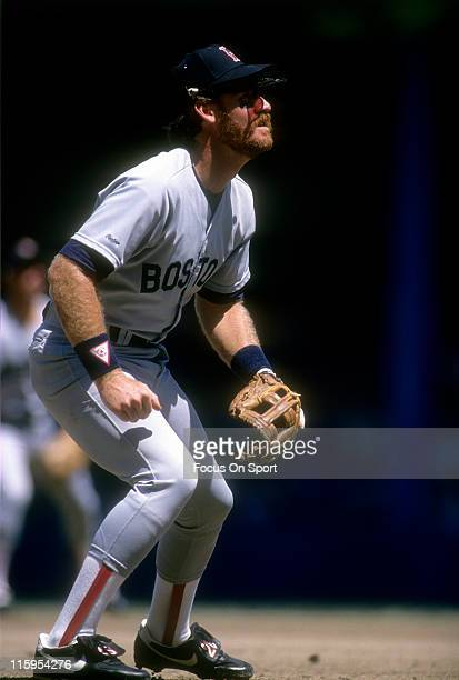 Third Baseman Wade Boggs of the Boston Red Sox down and ready to make a play on the ball during a Major League Baseball game circa 1989 Boggs played...