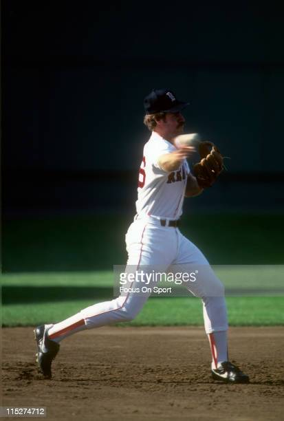 Third Baseman Wade Boggs of the Boston Red Sox in action during a Major League Baseball game circa 1986 at Fenway Park in Boston Massachusetts Boggs...