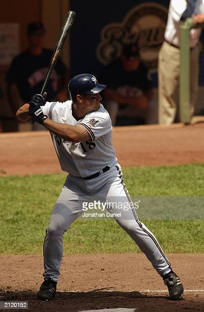 Third baseman Wes Helms of the Milwaukee Brewers waits for the pitch during the interleague game against the Minnesota Twins on June 22 2003 at...