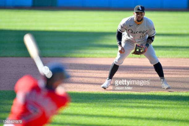 Third baseman Yoan Moncada of the Chicago White Sox watches as Cesar Hernandez of the Cleveland Indians bats during the fifth inning of game 1 of a...