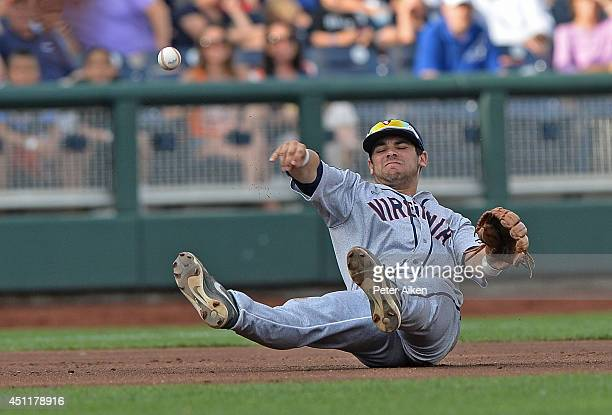 Third basemen Kenny Towns of the Virginia Cavaliers attempts a throw to first base while from the infield against the Vanderbilt Commodores in the...
