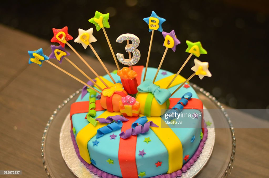 Marvelous Third Birthday Cake High Res Stock Photo Getty Images Funny Birthday Cards Online Bapapcheapnameinfo