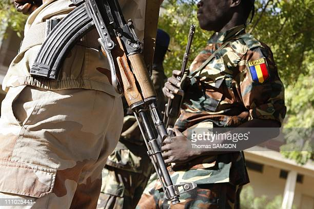Third day of trial members of the Arche of Zoe at the Criminal Court of N'Djamena in N'Djamena Chad on December 24th 2007 Chad soldiers in front of...