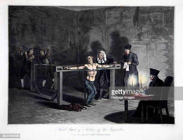 Third Degree of Torture of the Inquisition' 1813 The victim is stripped and an iron chain pulled against his chest until it breaks through the flesh...