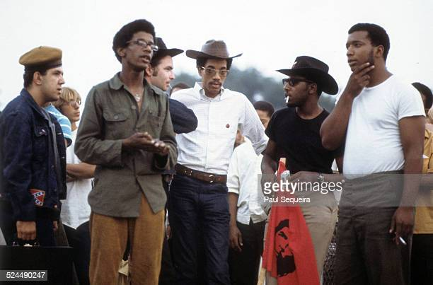 Third from left Young Patriots Organization leader Bill 'Preacherman' Fesperman Black Panther Party leaders Bobby Lee Billy 'Che' Brooks and Fred...