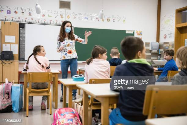 Third grade pupils of Orehek primary school attend class on their first day of school. After months of lockdown, primary schools in Slovenia reopened...