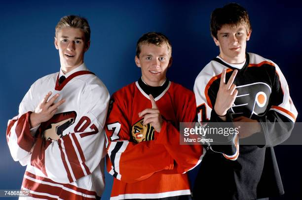 Third overall pick Kyle Turris of the Phoenix Coyotes, first overall pick Patrick Kane of the Chicago Blackhawks and second overall pick James...