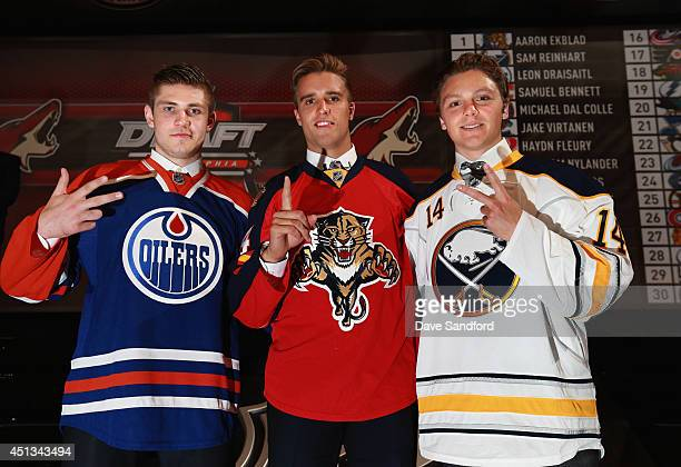 Third overall pick Leon Draisaitl of the Edmonton Oilers first overall pick Aaron Ekblad of the Florida Panthers and second overall pick Sam Reinhart...