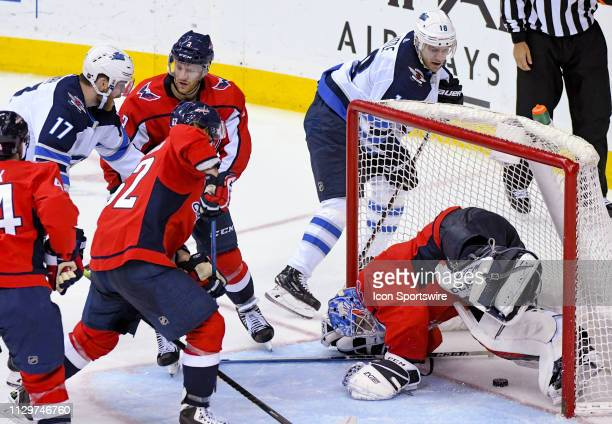 A third period goal against Washington Capitals goaltender Pheonix Copley is waved off for goalie inference by the Winnipeg Jets on March 10 at the...