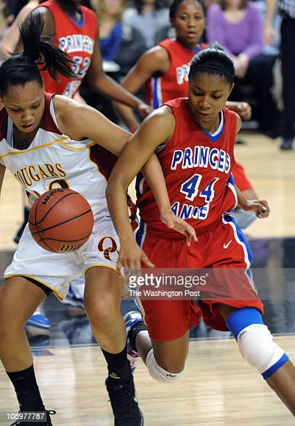 IN third period Oakton's Danielle Davis and Princess Anne's Brianna Kincade firght for loose ball on March 10 2010