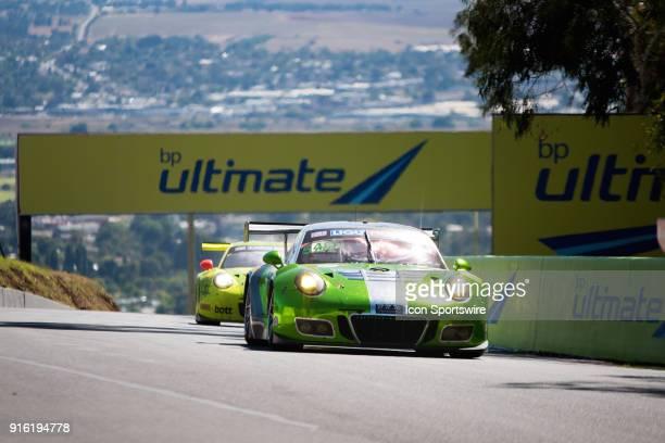 Third place car No 540 Black Swan Racing Porsche 911 GT3 R driven by Tim Pappas / Jeroen Bleekemolen / Luca Stolz / Marc Lieb over the top of the...