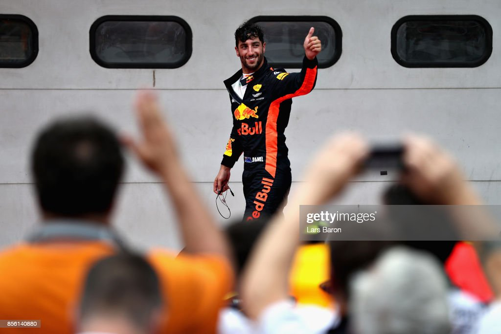 Third place finisher Daniel Ricciardo of Australia and Red Bull Racing celebrates in parc ferme during the Malaysia Formula One Grand Prix at Sepang Circuit on October 1, 2017 in Kuala Lumpur, Malaysia.