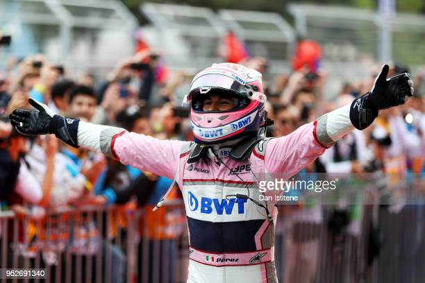 Third place finisher Sergio Perez of Mexico and Force India celebrates in parc ferme during the Azerbaijan Formula One Grand Prix at Baku City...