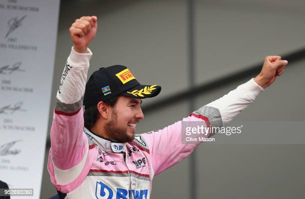 Third place finisher Sergio Perez of Mexico and Force India celebrates on the podium during the Azerbaijan Formula One Grand Prix at Baku City...