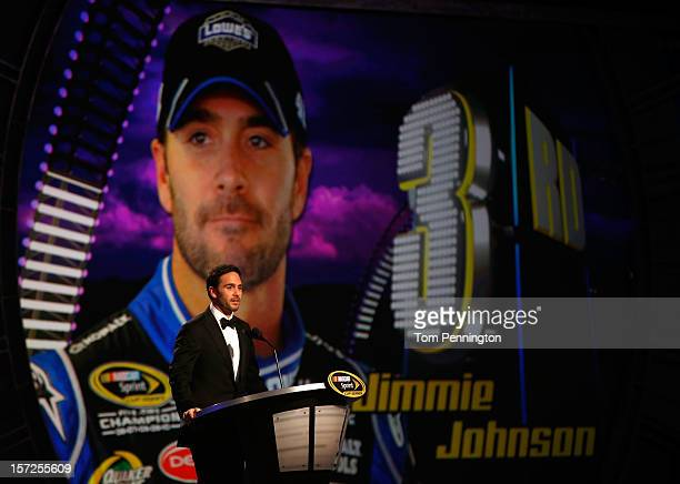 Third Place Jimmie Johnson driver of the Lowe's Chevrolet speaks during the NASCAR Sprint Cup Series Champion's Awards Ceremony at the Wynn Las Vegas...