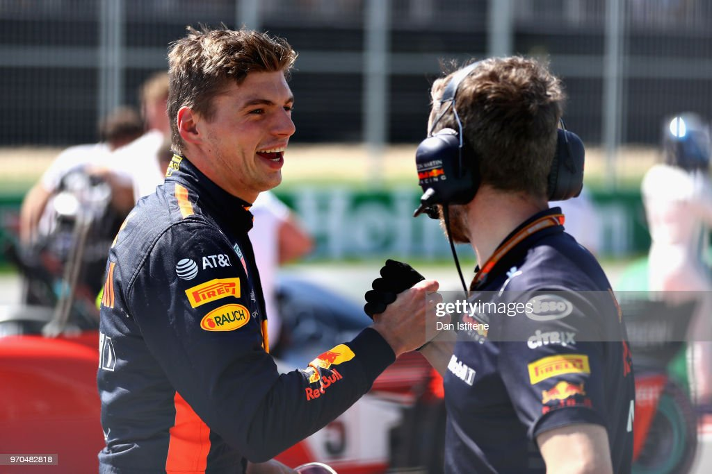 Third place qualifier Max Verstappen of Netherlands and Red Bull Racing celebrates in parc ferme during qualifying for the Canadian Formula One Grand Prix at Circuit Gilles Villeneuve on June 9, 2018 in Montreal, Canada.