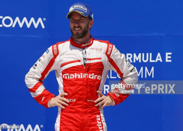 Third place winner Nick Heidfeld from Machindra Racing attends winners circle ceremony during Formula E Qualcomm New York City ePrix on July 16, 2017...