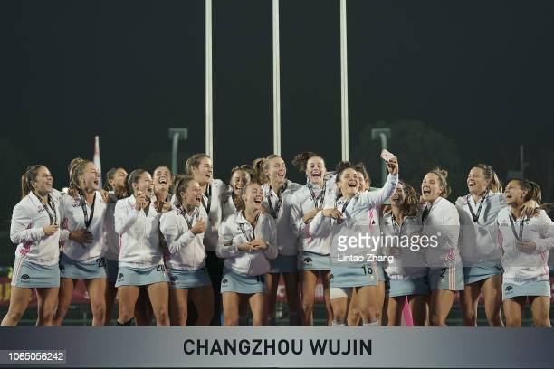 Third place winner of Argentina celebrates at the award ceremony during the FIH Champions Trophy 3rd/4th Place match between China and Argentina on...