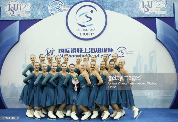 Third place winner Team Surprise of Sweden pose on the podium after the Synchronized Skating free skate duirng the 2017 Shanghai Trophy at the...