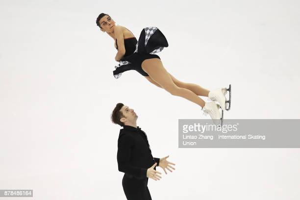 Third place winner Valentina Marchei and Ondrej Hotarek of Italy performs during the Pairs Free skating duirng the 2017 Shanghai Trophy at the...