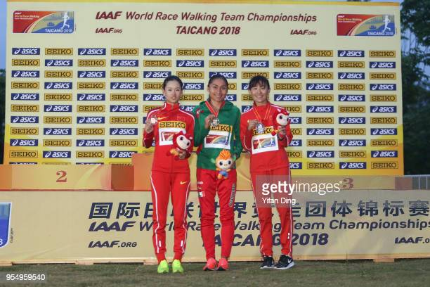 Third place Yang Jiayu of China winner Maria Guadalupe Gonzalez of Mexico and runnerup Qieyang Shijie of China pose for photo during the medal...