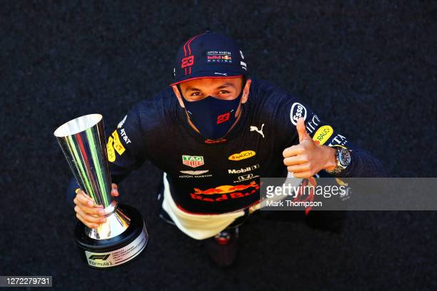 Third placed Alexander Albon of Thailand and Red Bull Racing celebrates after the F1 Grand Prix of Tuscany at Mugello Circuit on September 13, 2020...