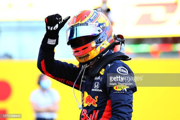Third placed Alexander Albon of Thailand and Red Bull Racing celebrates in parc ferme during the F1 Grand Prix of Tuscany at Mugello Circuit on...