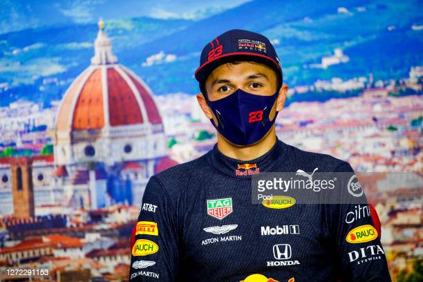 Third placed Alexander Albon of Thailand and Red Bull Racing talks in a press conference after the F1 Grand Prix of Tuscany at Mugello Circuit on...
