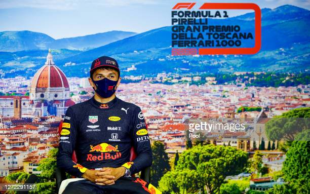 Third placed Alexander Albon of Thailand and Red Bull Racing talks in the Drivers Press Conference during the F1 Grand Prix of Tuscany at Mugello...