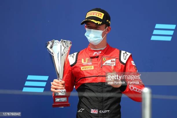Third placed Callum Ilott of Great Britain and UNI-Virtuosi Racing celebrates on the podium during the Formula 2 Championship Feature Race at Sochi...