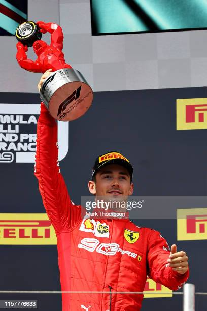 Third placed Charles Leclerc of Monaco and Ferrari celebrates on the podium during the F1 Grand Prix of France at Circuit Paul Ricard on June 23,...